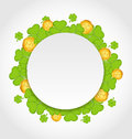 Greeting card with shamrocks and golden coins for  Royalty Free Stock Photography