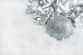 Greeting card. Silver Christmas decorations Stock Photo