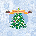 Greeting card with snowflakes,robin bows with ribbon Royalty Free Stock Images