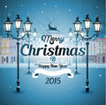 Greeting card snowy old street christmas background Stock Image