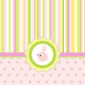 Greeting card with stripes, dots and rabbit Stock Photos