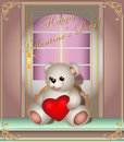 Greeting card with teddy bear and door Royalty Free Stock Photo