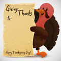 Greeting Card Template with Turkey for Thanksgiving Day Celebration, Vector Illustration