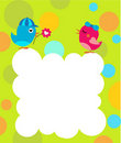 Greeting card template with two birds Stock Photos
