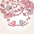 Greeting card with two birds on the  tree Stock Photography
