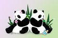 Greeting card with two pandas Royalty Free Stock Images