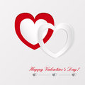 Greeting card on valentines day with paper hearts Stock Image