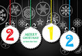 Greeting card with white abstract christmas toys Royalty Free Stock Photo
