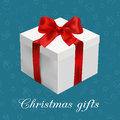 Greeting card white box with red bow on the blue christmas background vector illustration Stock Images