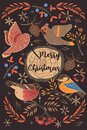 Greeting card with winter birds and the inscription Merry Christmas. Vector graphics