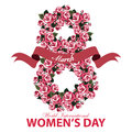 Greeting card for Women's Day banner with the number eight of roses flowers and ribbon on white background