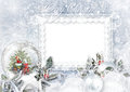 Greeting Card with Xmas Snow globe on frost background Royalty Free Stock Photo