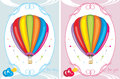 Greeting cards with air balloons for little boy and girl illustration Royalty Free Stock Photography