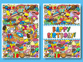 Greeting cards birthday party templates with sweets doodles background. Vector illustration.