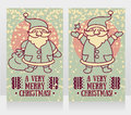Greeting cards for christmas with cute happy Santa Claus