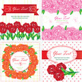 Greeting cards with roses flowers. Vector Stock Photos
