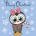 Greeting Christmas card Cartoon Penguin girl on a blue background