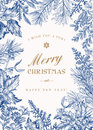 Greeting Christmas card in vintage style. Royalty Free Stock Photo