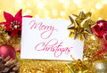Greeting christmas with glitter golden Stock Photography