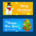 Greeting christmas and new year baners set happy merry vector illustration eps Royalty Free Stock Photo