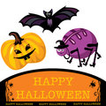 Greeting cute halloween card Royalty Free Stock Images