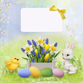 Greeting Easter card with rabbit, chicken and eggs