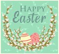 Greeting Easter card with willow twigs and eggs. Vector illustration
