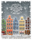 Greeting gard with winter european town llustration of old at label Royalty Free Stock Image