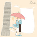 Greeting girl kiss boy under umbrella italy Royalty Free Stock Image