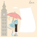 Greeting girl kiss boy under umbrella london Royalty Free Stock Photos