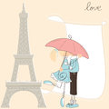 Greeting girl kiss boy under umbrella paris Royalty Free Stock Photo