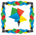 Greeting origami banner with multicolored frame Stock Photography