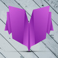 Greeting origami card on the Grey wooden planks Stock Photography
