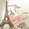 Greeting Valentine card with detailed vector Eiffel tower Royalty Free Stock Photo