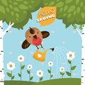 Greeting vector card with a cute bird watering the flowers illustration Royalty Free Stock Photos