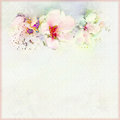 Greeting vintage card in pastel colors with spring flowers