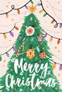 Greeting Xmas card with Merry Christmas inscription and fir tree decorated with light garland, stars and ornaments in Royalty Free Stock Photo