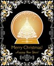 Greeting xmas vintage card with golden globe, xmas tree and floral adornment Royalty Free Stock Photo