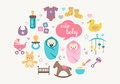 Greetings card babies and toys cute with icons of in flat design style Stock Images
