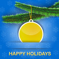 Greetings card with Christmas tree and a bauble Stock Image