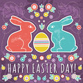 Greetings card with easter eggs and two rabbits vector Royalty Free Stock Photography
