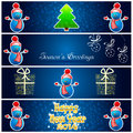 Greetings card with new year tree snowman presents and snowfla green few snowmen gifts christmas decoration snowflakes Stock Image