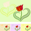 Greetings Card Red tulip flower vector Royalty Free Stock Images