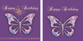 Greetings congratulations card with decorative butterfly Stock Images