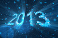 Greetings new year 2013 of shining blue elements Royalty Free Stock Images