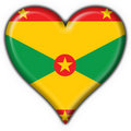 Grenada button flag heart shape Stock Image