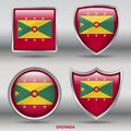 Grenada Flag in 4 shapes collection with clipping path