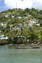 Grenada homes on the hillside. Royalty Free Stock Images