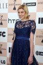 Greta gerwig los angeles feb arrives at the film independent spirit awards at beach on february in santa monica ca Royalty Free Stock Photo