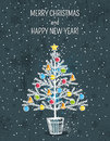 Grey background with christmas tree vector illustration Royalty Free Stock Photos